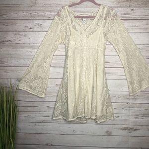 American Rag white lace mini dress bell sleeve Lg